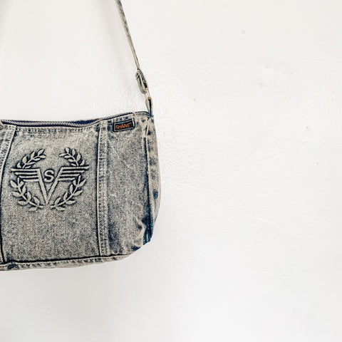 Vintage Acid Wash Denim Crossbody Purse