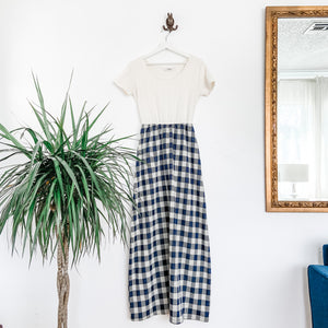 Ginger Maxi Dress in blue plaid