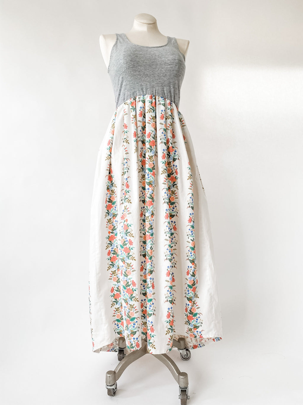 Together Dress in White English Garden with Train - made with Rifle Paper Co Fabric