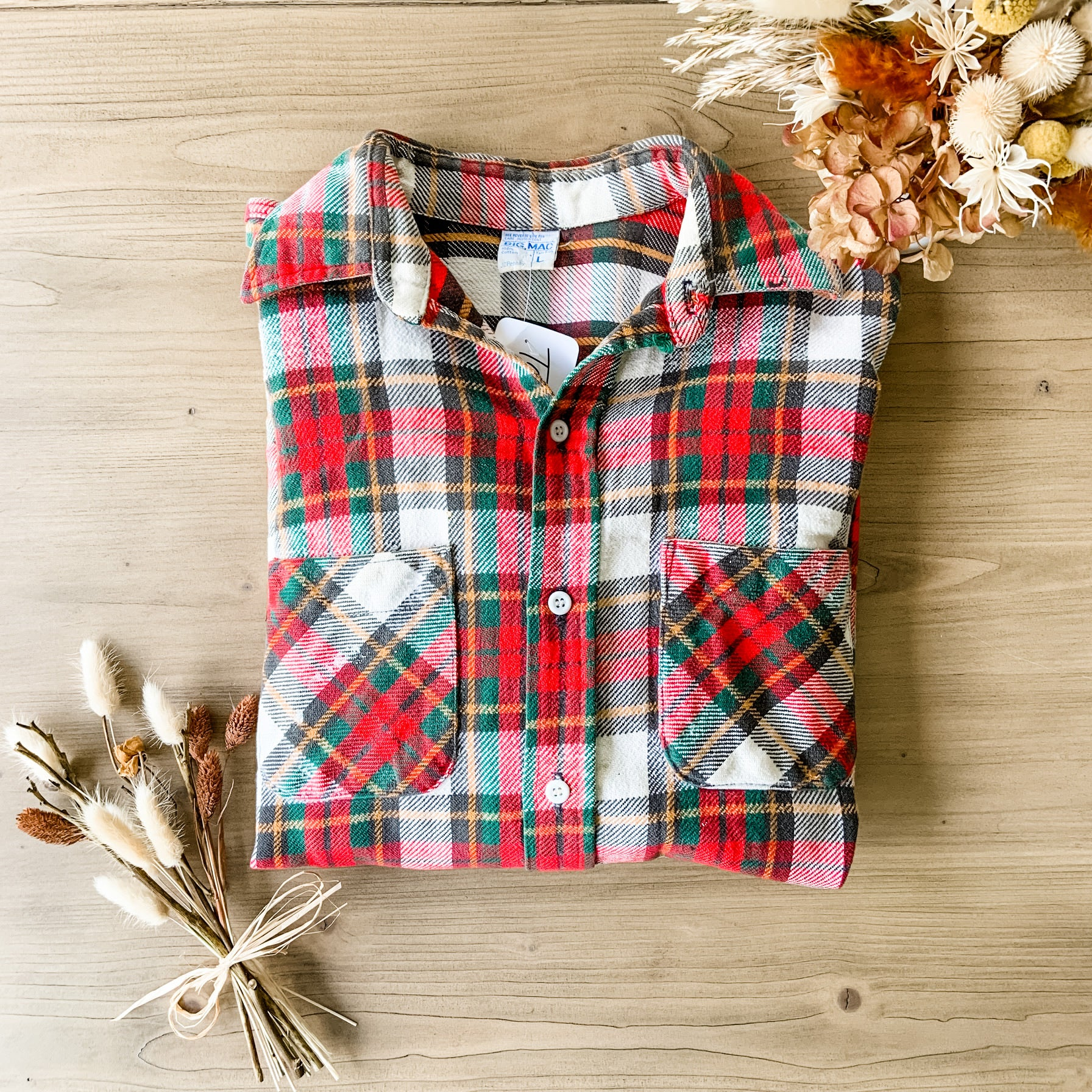 Vintage Unisex Red Plaid Fozy Flannel