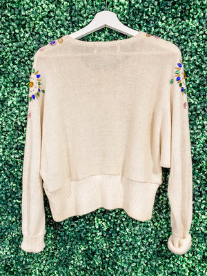 TJF Adorned and bedazzled Cropped Sweater