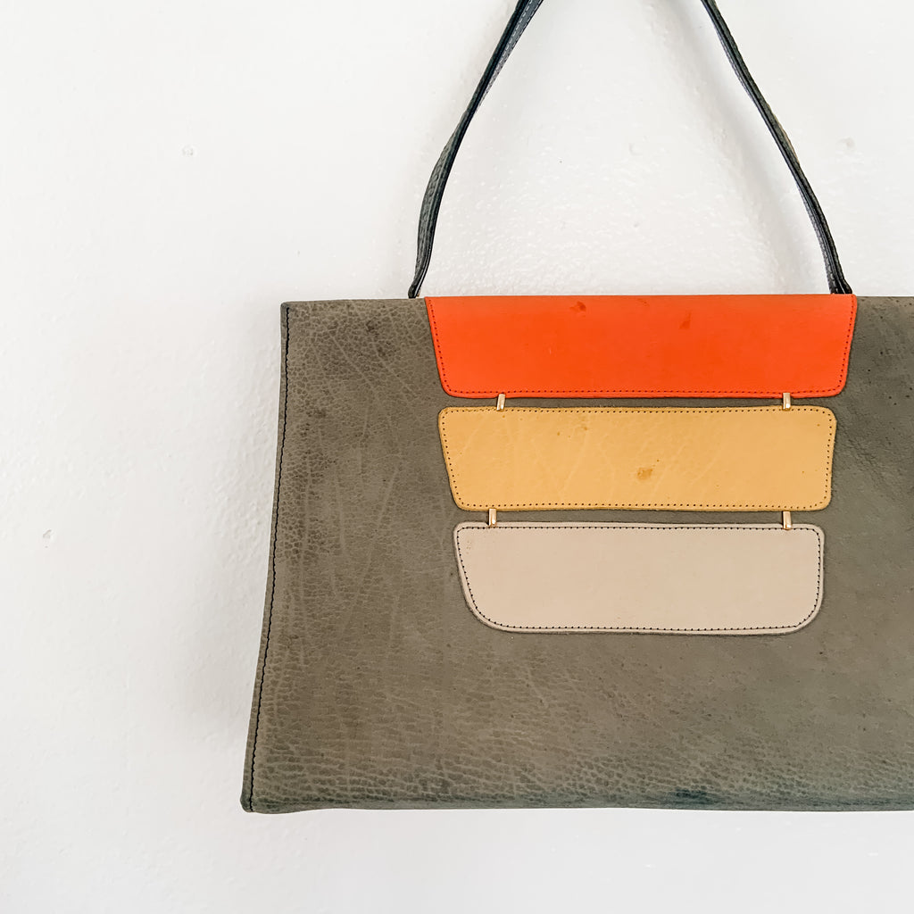 Vintage sweet suede color block handbag