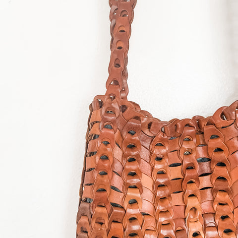 Beautiful Leather Woven Shoulder Bag