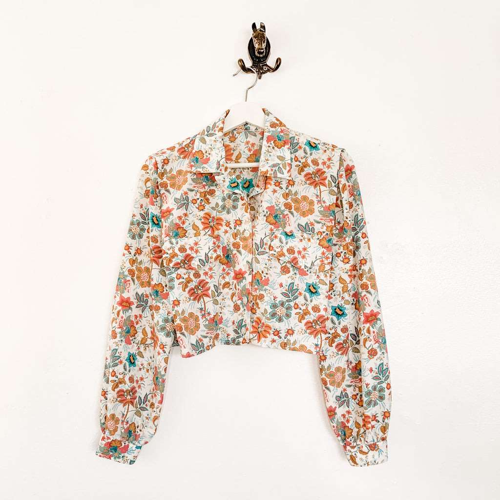 Vintage floral crop top blouse