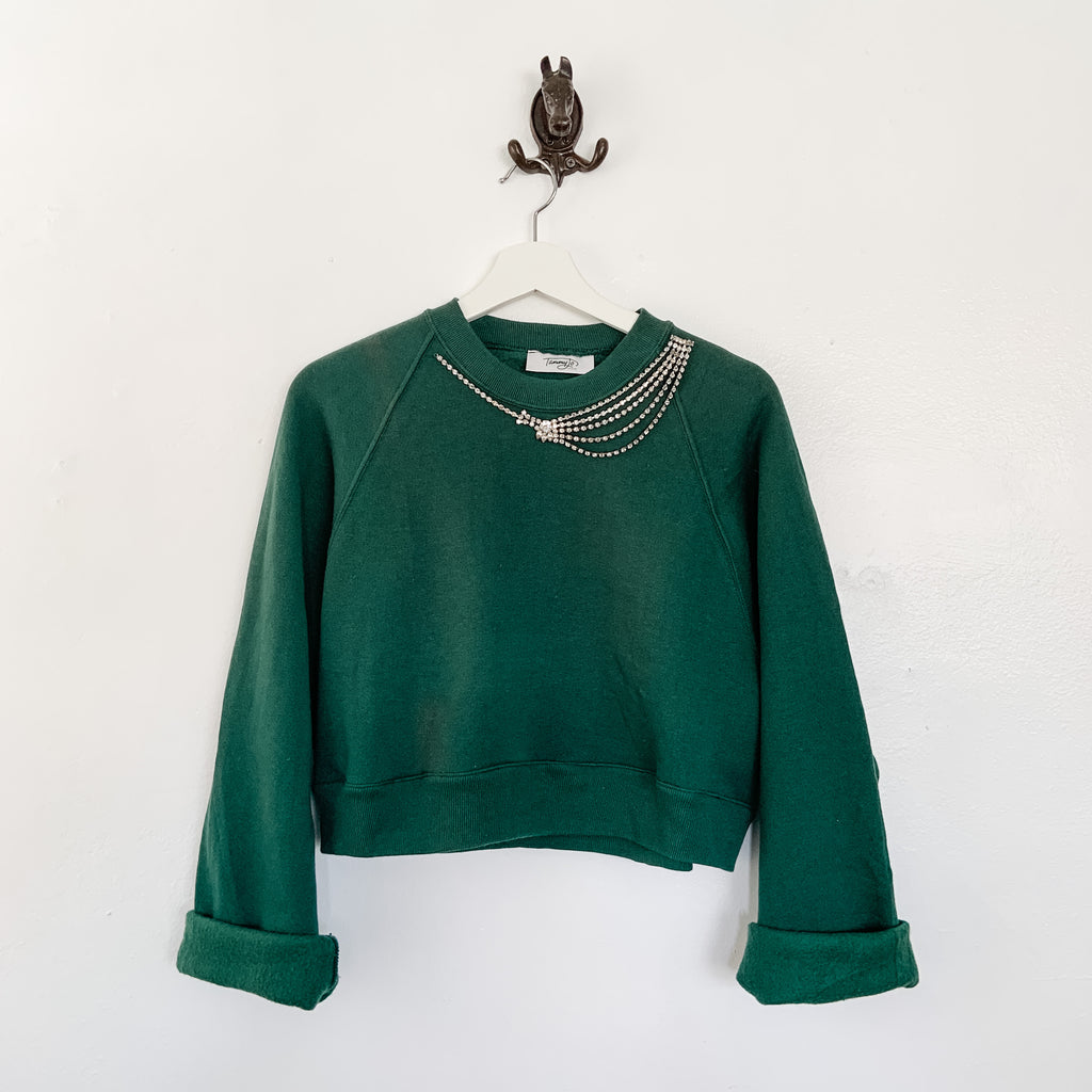 TJF Embellished Green Rhinestone Cropped Sweatshirt