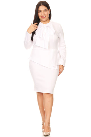 Jackie - Plus Size Peplum Dress with Neck Tie
