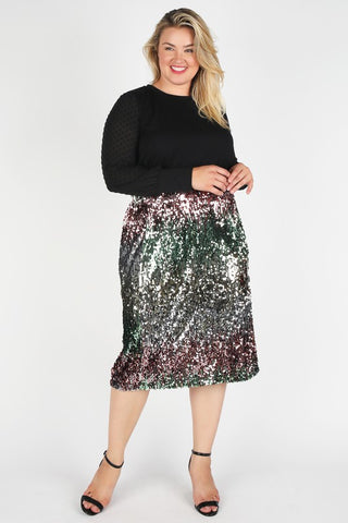Grace - Plus Size Multicolor Sequin Midi Skirt