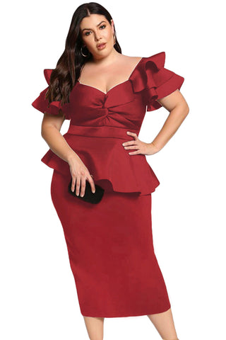 Dynasty - PLUS SIZE TIERED SLEEVE TWISTED PEPLUM DRESS