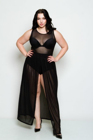Courtney Plus Size Sheer Split Skirt Body Suit