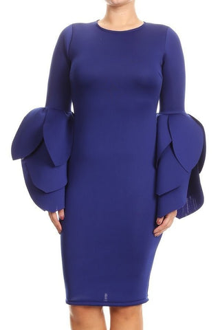 Blue Rose - Plus Size Petal Sleeve Dress