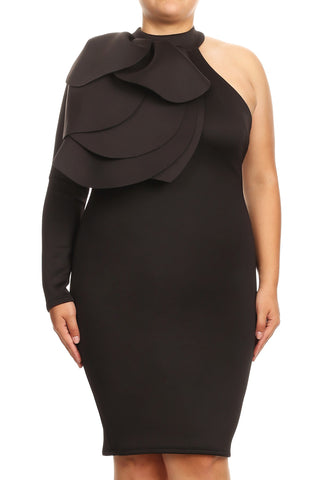 Elsa - Plus Size  Cold Shoulder Flourish Dress