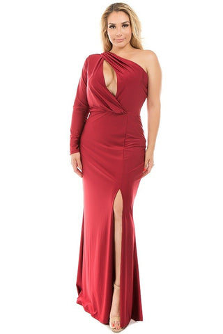 Burgundy - Plus Size One Shoulder Keyhole Maxi Dress