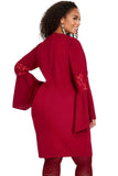 Bella - Plus Size Deep Red Lace Bell Sleeve Sheath Dress