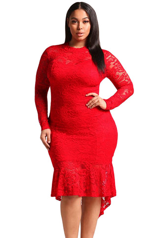 Lacey - RED PLUS SIZE FLORAL LACE HI-LO MERMAID DRESS