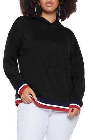 Melanie - Plus Size 3 Color Trim Hoodie
