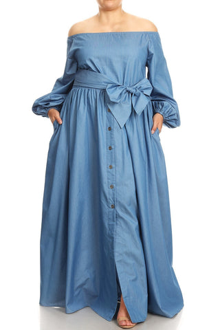 Dorothy - Plus Size Denim Off Shoulder Maxi Dress