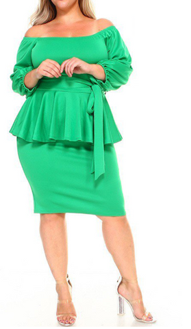 Ezinne - Plus Size Off Shoulder Peplum Dress