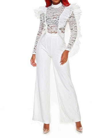 Queen Bae - Plus Size Lace Ruffle Jumpsuit