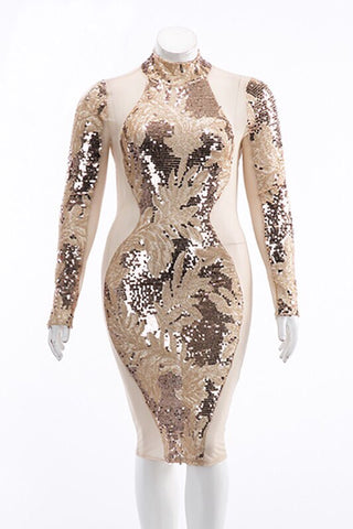 Audaz - Plus Size Gold Sequin & Sheer Dress