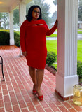 Sonya - Plus Size Long Sleeve Peep Hole Midi Dress