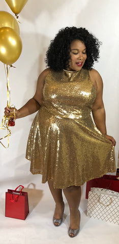 Jill - Plus Size Gold Sequin Skater Dress