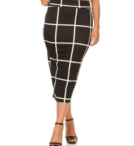 Maxine - Plus Size Black and White Pencil Skirt