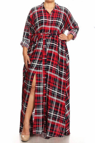 Shamba - Plus Size Plaid Print Maxi Dress
