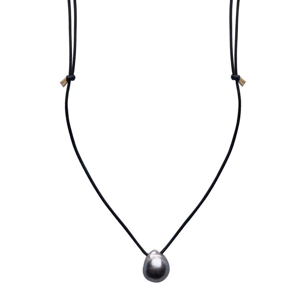 ARO Large Tahitian Pearl & Leather Necklace
