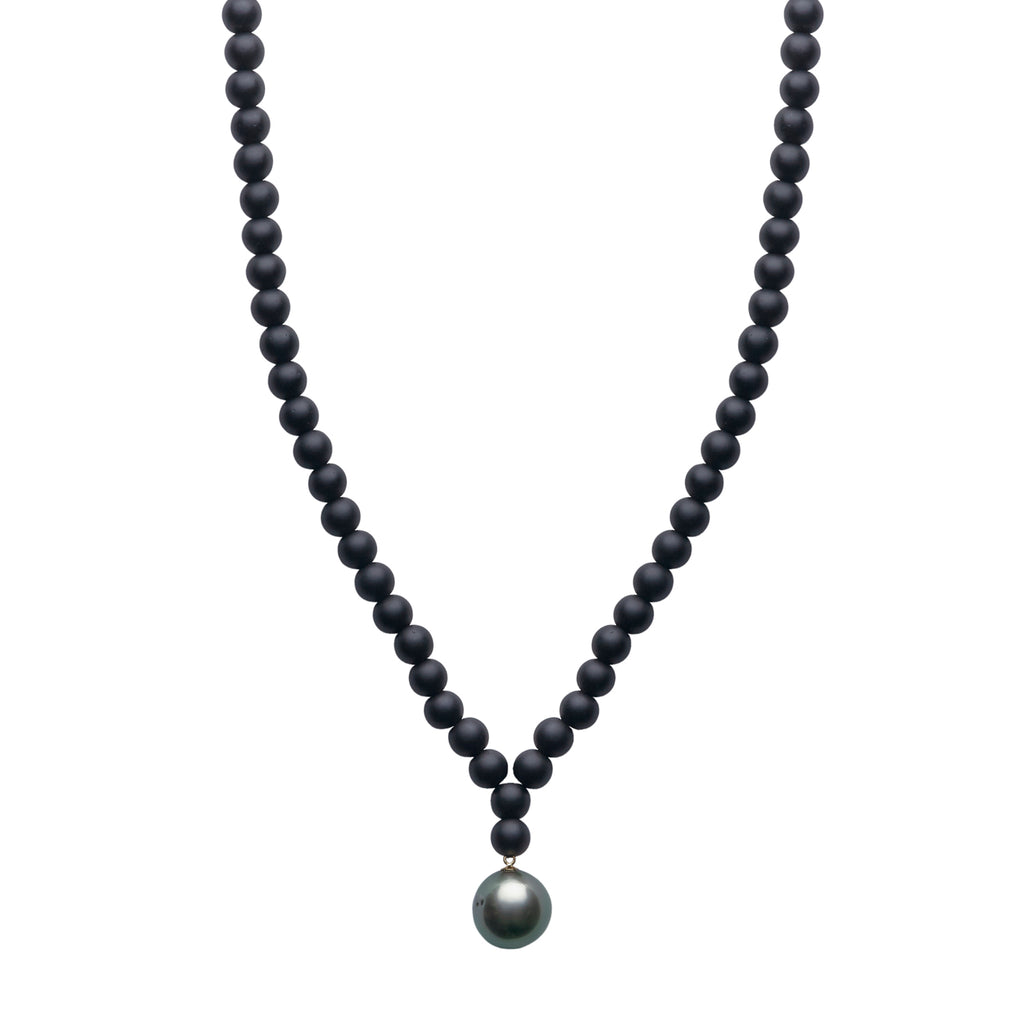 ARO Large Round Tahitian Pearl & Matt Onyx Necklace