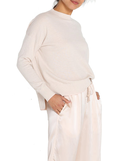 Cashmere Blend Crew Neck Jumper Blush Cream