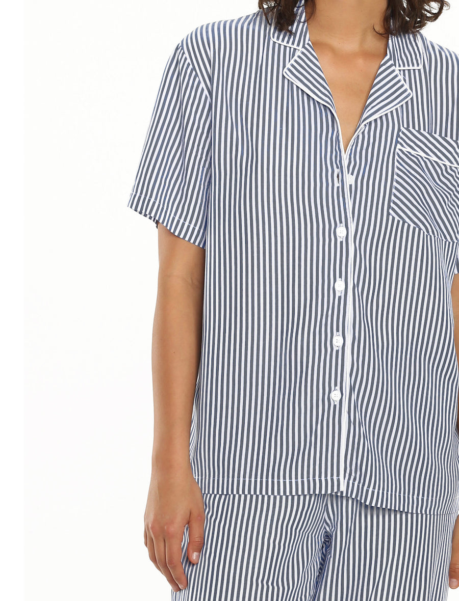 Comfy Stripe Crop PJ in Smokey Navy & White