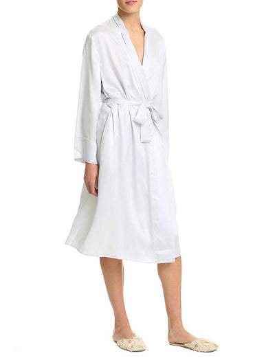 Dove Grey Silk Long Robe