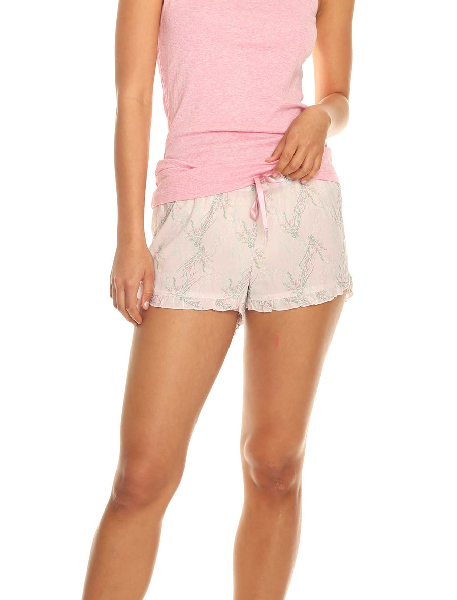 Falling Blossom Pink Viscose Frilled Boxer