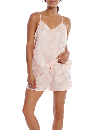 Ginkgo Pink Boxer and Cami Set
