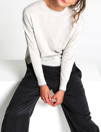 Cashmere Blend Crew Neck Jumper Grey