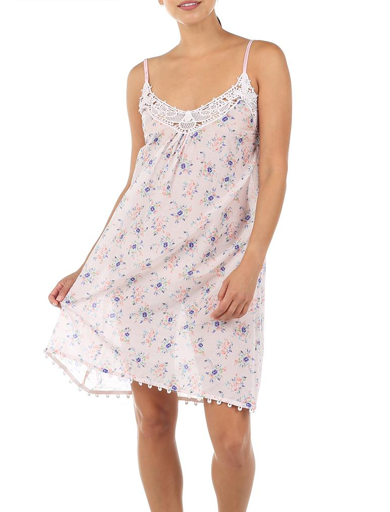 Iggy Pink Short Lace Front Nightie
