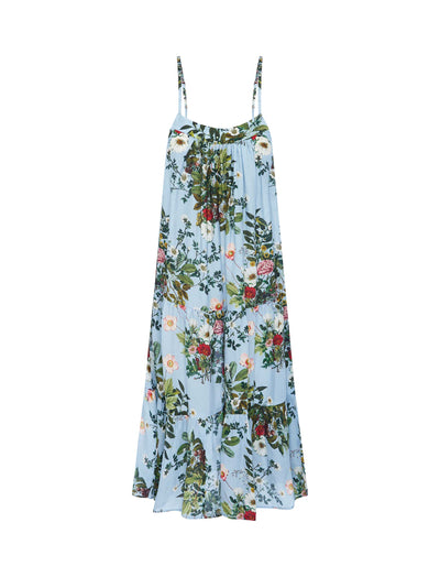 Karen Walker Love Letter Blue Floral Tiered Nightie