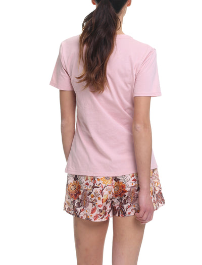 Karen Walker Silk Cotton Garden of Eden Boxer and Tee PJ