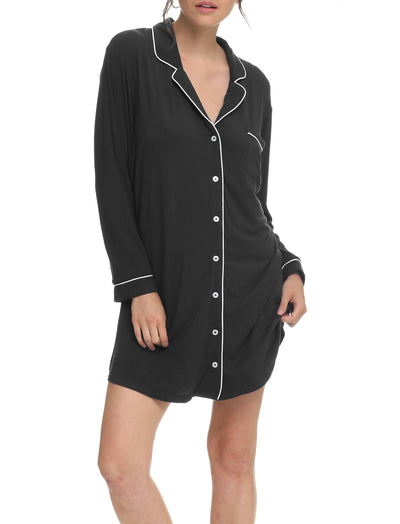 Modal Soft Kate Nightshirt in Black