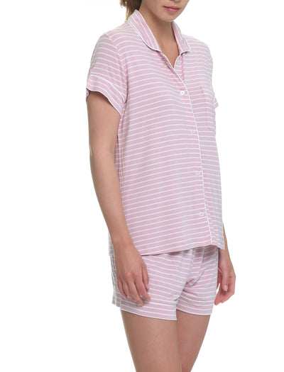 Modal Kate Stripe Boxer PJ Set Folded, Pink & White