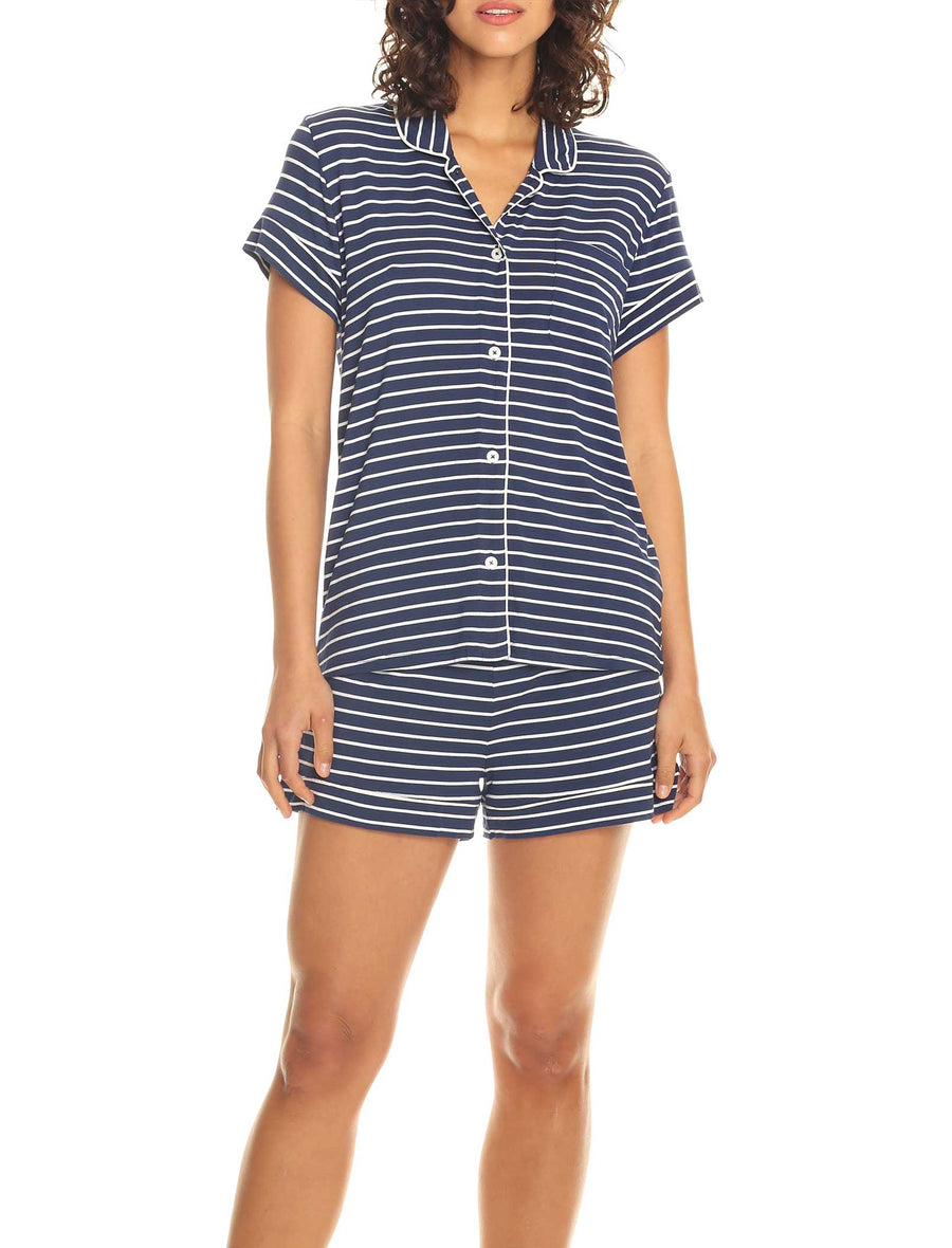 Modal Soft Kate Boxer PJ in Navy with White Stripe