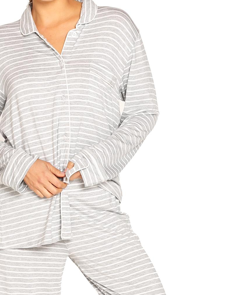 Modal Kate PJ Set Pinstripe Grey