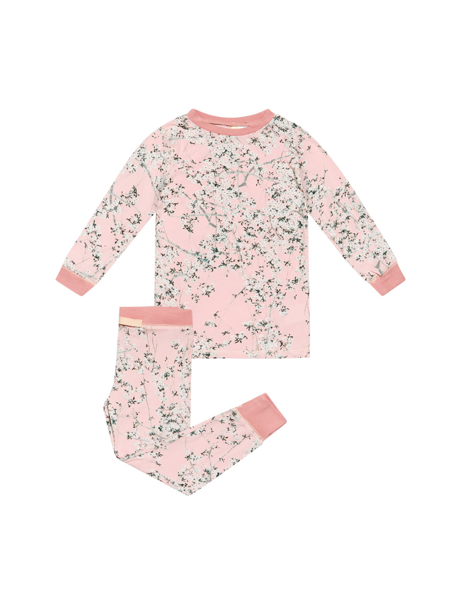 Girls Cherry Blossom Blush Modal  PJ Set