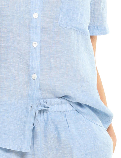 Resort Linen Shirt in Vintage Blue