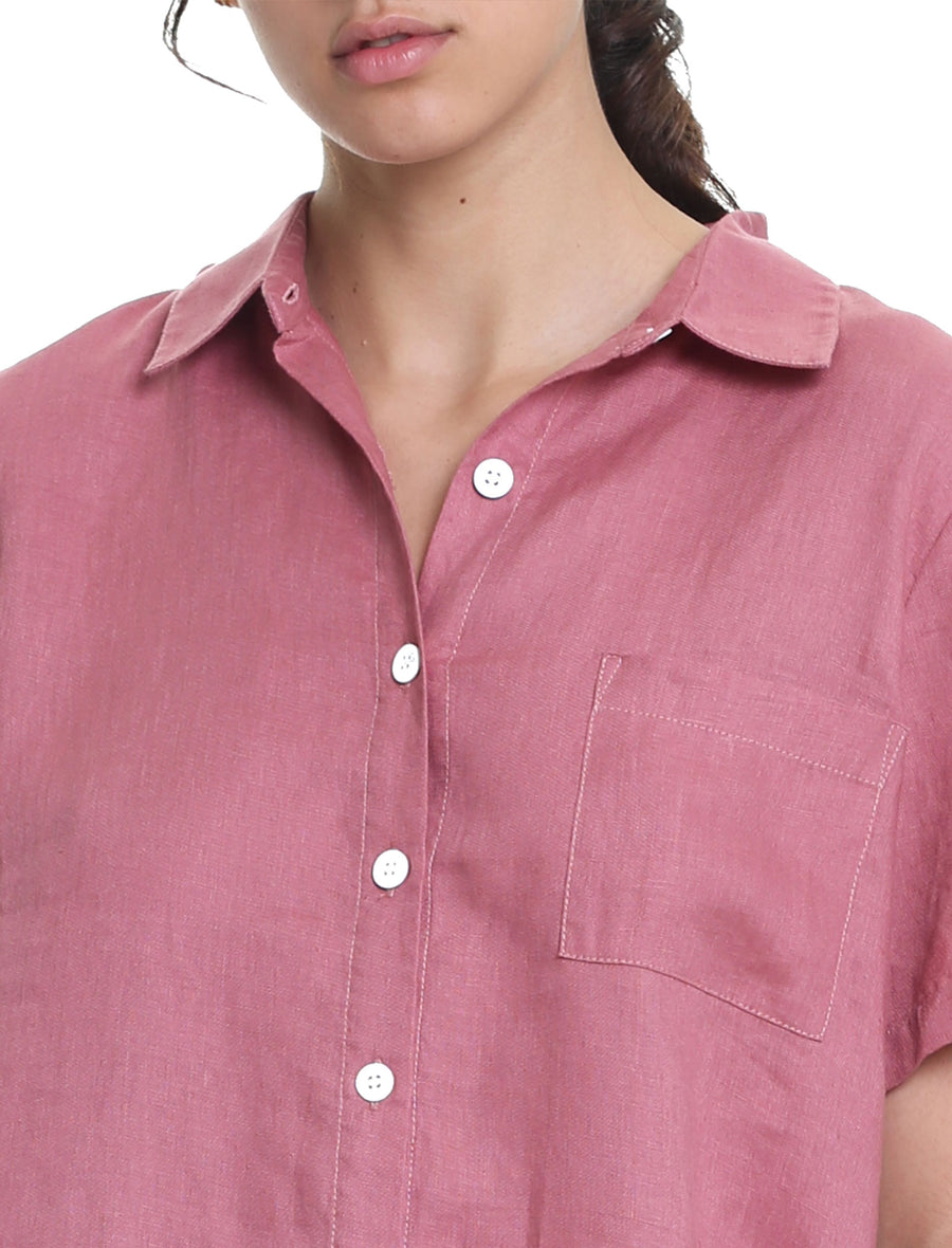 Resort Linen Short Sleeve Shirt in Dusty Pink