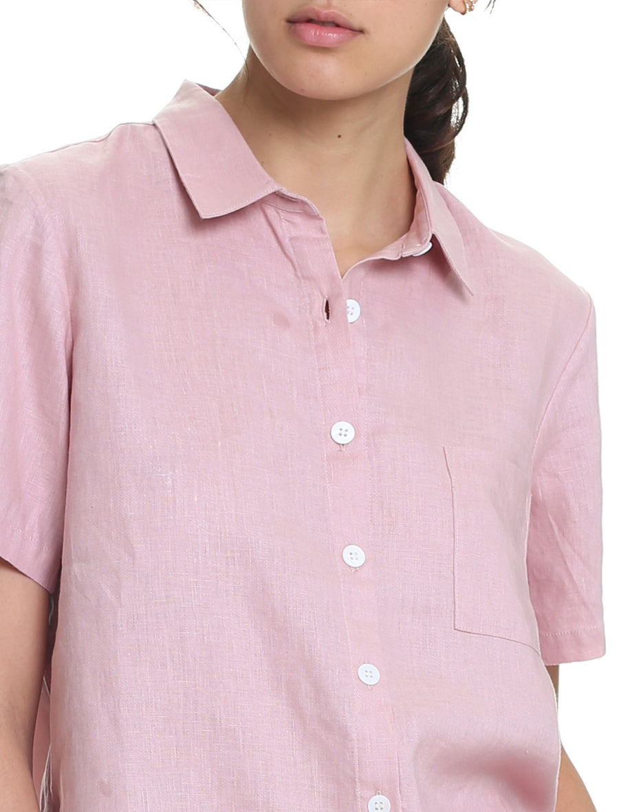 Resort Linen Short Sleeve Shirt in Powder Pink
