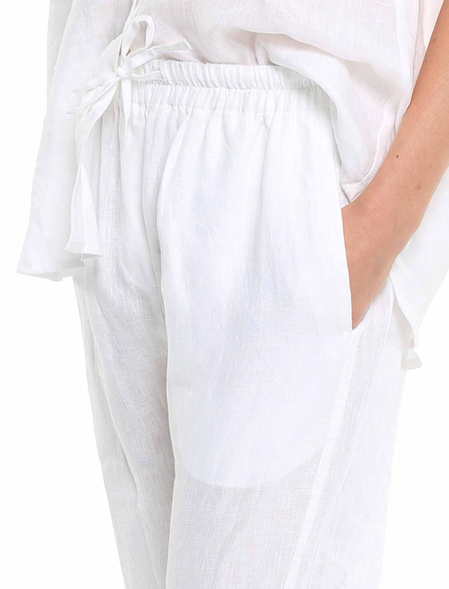 Resort Linen Pant in White