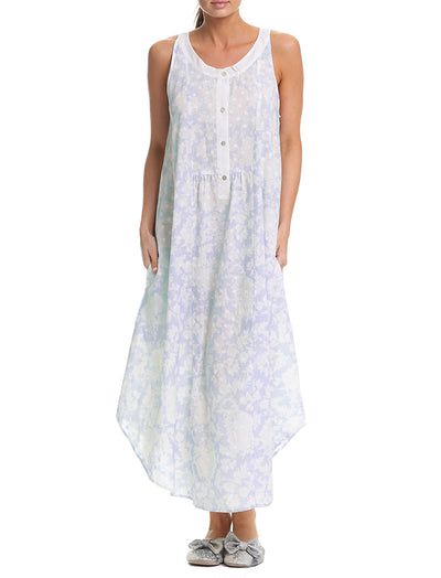Linen Garden Blue Maxi Panel Nightie