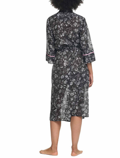 Louis Dark Maxi Cotton Silk Robe Back