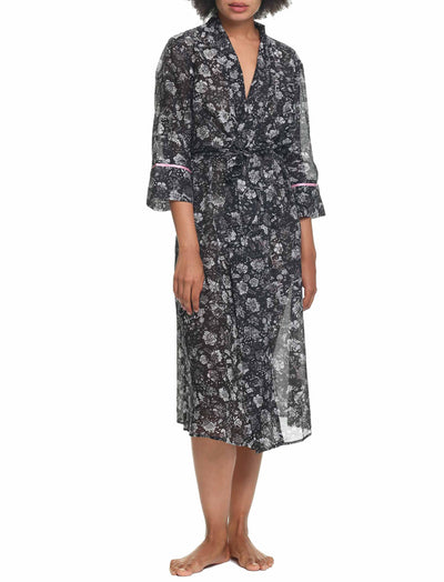 Louis Dark Maxi Cotton Silk Robe Wrapped